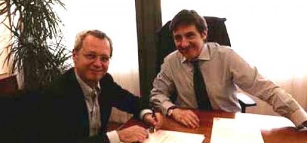 Urbano Cairo e Enrico Mentana firmano il contratto