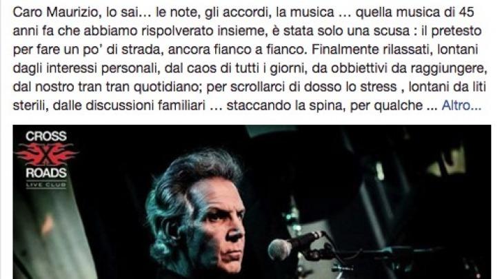 Il post su Facebook di Giampiero Artegiani